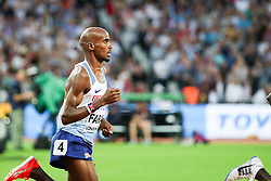 London, August 12 2017 . Mo Farah, Great Britain, in the men's 5000m final on day nine of the IAAF London 2017 world Championships at the London Stadium. © Paul Davey.