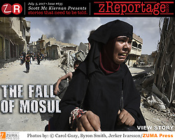 zReportage.com Story of the Week # 635 -  The Fall of Mosul - Launched July 5, 2017 - Full multimedia experience: audio, stills, text and or video: Go to zReportage.com to see more - The United Nations estimates that tens of thousands of civilians are still trapped inside the Old City of Mosul. In the weeks leading up to the operation to retake the Old City the UN and human rights groups warned the Iraqi government against the use of 'wide-area' explosive weapons, where houses are tightly packed and the civilian population is dense. A commander from the Iraqi Rapid Response Division stated of the thousands of civilians still trapped inside the old city, many are believed to have been brought from other areas by ISIS to be used as human shields. Iraqi forces reduced their advance through the last streets in Mosul controlled by Islamic State (ISIS) where militants and civilians are jammed in tightly together into a shrinking rectangle no more than 300 by 500 meters beside the Tigris river, their last holdout in Mosul. But the resistance and fighting has been fierce. The number of Islamic State militants fighting in Mosul, by far the biggest city it has ever controlled, has dropped from thousands at the start of the U.S. backed offensive over eight months ago to just a couple of hundred, according to the Iraqi military. With Mosul gone, the group's territory in Iraq will be limited to a few areas west and south of the city where some tens of thousands of civilians live. (Credit Image: © Carol Guzy/zReportage.com via ZUMA Wire)