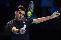 Tennis - 2019 Nitto ATP Finals at The O2 - Day Five<br /> <br /> Singles Group Bjorn Borg: Novak Djokovic (Serbia) vs. Roger Federer (Switzland)<br /> <br /> Roger Federer in action<br /> <br /> COLORSPORT/ASHLEY WESTERN