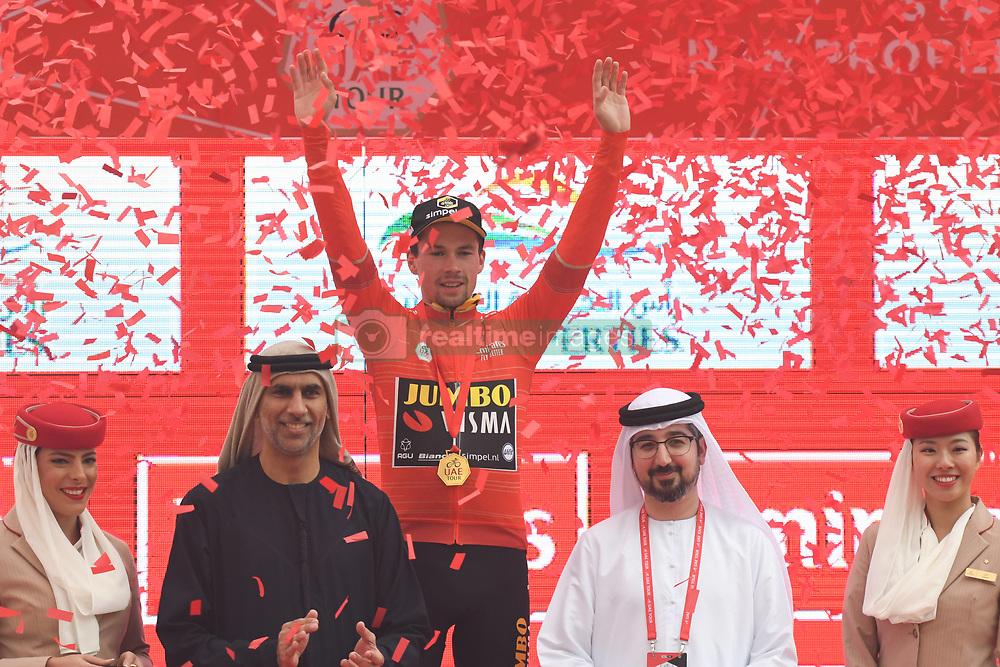 March 1, 2019 - Jebel Jais, United Arab Emirates - Primoz Roglic of Slovenia and Team Jumbo - Visma, celebrates after he wins the sixth Rak Properties Stage of UAE Tour 2019, ahead of Tom Dumoulin (Sunweb Team), a 180km with a start from Ajman and finish in Jebel Jais. .On Friday, March 1, 2019, in Jebel Jais, Ras Al Khaimah Emirate, United Arab Emirates. (Credit Image: © Artur Widak/NurPhoto via ZUMA Press)