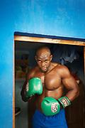 Young boxer standing on gym, Gimnasio Rafael Trejo, Havana, Cuba