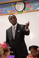 August 12, 2013 -Tucker - DeKalb County School District Superintendent Michael Thurmond  speaks to students in Maegan Donnell's first grade class on the first day of school at Midvale Elementary on Monday, August 12, 2013. Thurmond was touring the school on the first day.  ©2013 Johnny Crawford