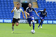 Thomas Cairney of Fulham (l) goes past Scott Malone of Cardiff city. Skybet football league championship match, Cardiff city v Fulham at the Cardiff city stadium in Cardiff, South Wales on Saturday 8th August  2015.<br /> pic by Andrew Orchard, Andrew Orchard sports photography.