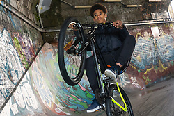 Tevon 'TJ' Jules shows off  his impressive riding skills. Bikestormz is the brainchild of leader Mac Ferrari, a group of young trick cyclists who are encouraged to put knives down and enjoy the healthy, positive side of urban youth culture by joining together  and developing their cycling skills. . London, September 27 2019.