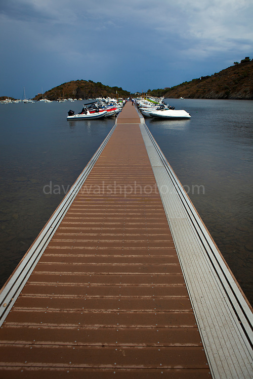 Boat jetty at Cala de Portlligat, Cadaques, Catalonia, Spain