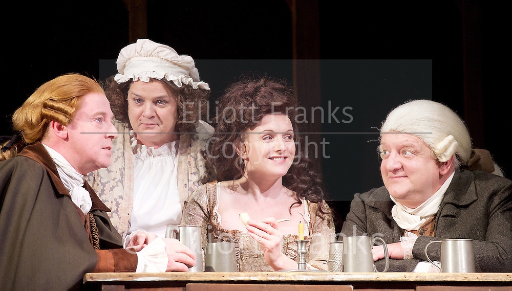 Mr Foote's Other Leg <br /> by Ian Kelly <br /> at Theatre Royal Haymarket, London, Great Britain <br /> press photocall<br /> 30th October 2015 <br /> <br /> <br /> <br /> <br /> Forbes Masson as John Hunter<br /> Jenny Galloway as Mrs Garner <br /> Dervla Kirwan as Peg Woffington <br /> Simon Russell Beale as Samuel Foote<br /> <br /> <br /> Photograph by Elliott Franks <br /> Image licensed to Elliott Franks Photography Services