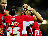 Photo: Leigh Quinnell/Sportsbeat Images.<br /> Watford v Bristol City. Coca Cola Championship. 01/12/2007. Bristol Citys Darren Byfield celebrates with his team after scoring a last minute winning goal.