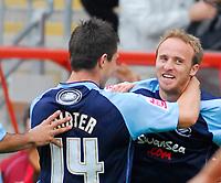 Photo: Leigh Quinnell.<br /> Leyton Orient v Swansea City. Coca Cola League 1. 06/10/2007. Swanseas Marcos Painter(14) congratulates Thomas Butler on his goal.