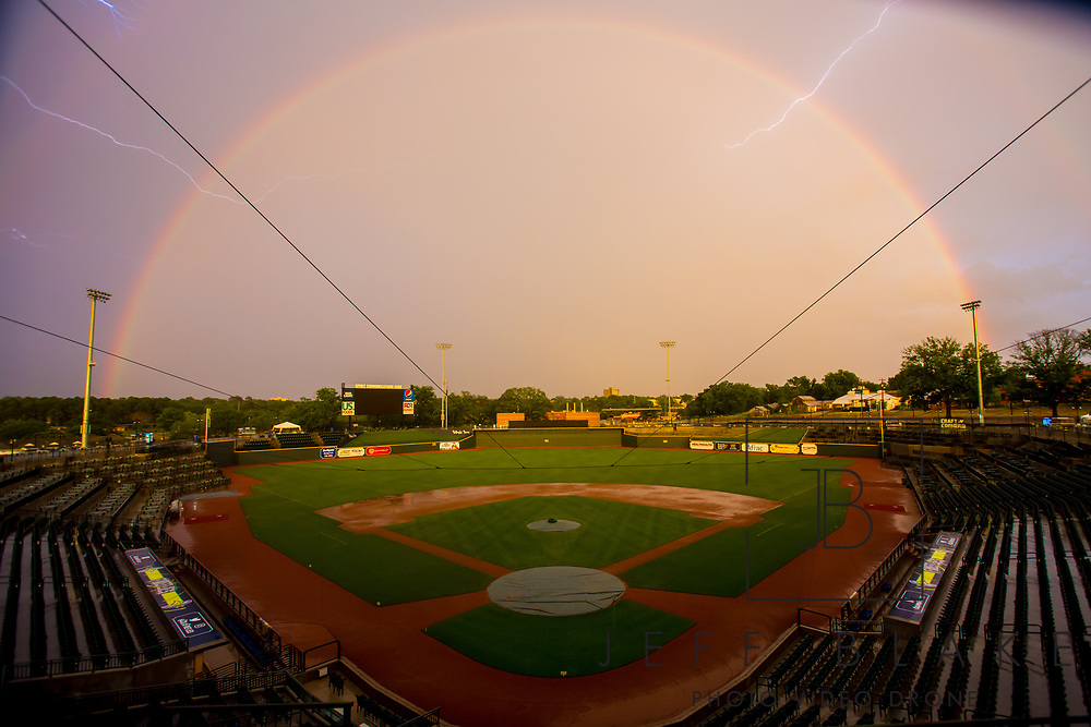 Lightning and rainbows over Spirit Communications Park, home of the Columbia Fireflies, in Columbia, SC, by photographer Jeff Blake, www.JeffBlakePhoto.com