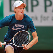 PARIS, FRANCE September 26.  Jannik Sinner of Italy during a practice match with Rafael Nadal of Spain on Court Philippe-Chatrier in preparation for the 2020 French Open Tennis Tournament at Roland Garros on September 26th 2020 in Paris, France. (Photo by Tim Clayton/Corbis via Getty Images)