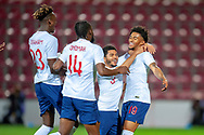 Reiss Nelson (#19) of England U21s (Hoffenheim, loan from Arsenal) celebrates after scoring a goal during the U21 UEFA EUROPEAN CHAMPIONSHIPS match between Scotland and England at Tynecastle Stadium, Edinburgh, Scotland on 16 October 2018.