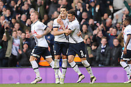 Erik Lamela of Tottenham Hotspur © celebrates after scoring his sides 3rd goal with Kyle Walker of Tottenham Hotspur (r) to make it 3-0. Barclays Premier league match, Tottenham Hotspur v Manchester Utd at White Hart Lane in London on Sunday 10th April 2016.<br /> pic by John Patrick Fletcher, Andrew Orchard sports photography.