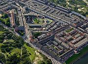 Nederland, Zuid-Holland, Den Haag, 14-09-2019; Stadsdeel Scheveningen, Duindorp met Prinses Julianakerk (links van het midden). Pnielkerk, rechts van het midden, inmiddels gesloopt, in brand gestoken.<br /> <br /> luchtfoto (toeslag op standard tarieven);<br /> aerial photo (additional fee required);<br /> copyright foto/photo Siebe Swart