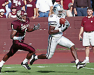 Kansas State wide receiver Quincy Morgan (5) pulls in a pass for a touchdown against Texas A&M at Kyle Field in College Station, Texas in 2000.