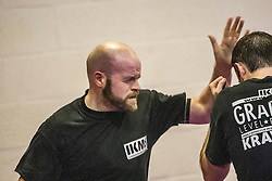Andy at the start of the session. Stef Noij, KMG Instructor from the Institute Krav Maga Netherlands, takes the IKMS G Level Programme seminar today at the Scottish Martial Arts Centre, Alloa.