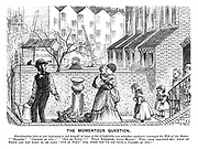 """The Momentous Question. Paterfamilias (who is just beginning to feel himself at home in his delightfully new suburban residence) interrupts the wife of his bosom. """"'Seaside!' 'Change of air!!' 'Out of town!!!' What nonsense, Anna Maria! Why, good gracious me! What on earth can you want to be going 'out of town' for, when you've got such a garden as this!"""""""