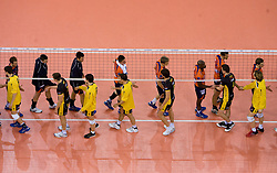 Players of ACH and Belchatow after the  match for 3rd place of CEV Indesit Champions League FINAL FOUR tournament between PGE Skra Belchatow, POL and ACH Volley Bled, SLO on May 2, 2010, at Arena Atlas, Lodz, Poland. Belchatow defeated ACH 3-1. (Photo by Vid Ponikvar / Sportida)