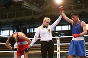 Boxen: Elite, Deutsche Meisterschaften, Viertelfinale, Lübeck, 07.12.2017<br /> Leichtgewicht, 60 kg: Younes Zarraa (NRW) - Yigitan Oezev (NRW)<br /> © Torsten Helmke