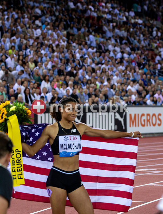 Sydney McLAUGHLIN of United States of America (USA) celebrates after winning in the Women's 400m Hurdles during the Iaaf Diamond League meeting (Weltklasse Zuerich) at the Letzigrund Stadium in Zurich, Switzerland, Thursday, Aug. 29, 2019. (Photo by Patrick B. Kraemer / MAGICPBK)