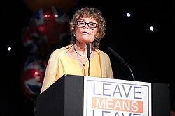 """© Licensed to London News Pictures . 22/09/2018. Bolton, UK. KATE HOEY speaks . Pro Brexit campaign group Leave Means Leave host a """" Save Brexit """" and """" Chuck Chequers """" rally at the University of Bolton Stadium , attended by leave-supporting politicians from a cross section of parties , including Conservative David Davis , former UKIP leader Nigel Farage and Labour's Kate Hoey . Photo credit: Joel Goodman/LNP"""