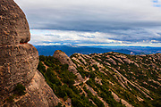 Ermita de Sant Onofre, Montserrat, Catalonia, built in the 19th Century next the Ermita de Sant Onofre, which is built into the cliff above in the Tebes area, near the Sant Joan funicular.