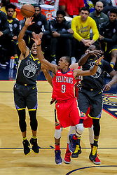 May 6, 2018 - New Orleans, LA, U.S. - NEW ORLEANS, LA - MAY 06:   Golden State Warriors forward Andre Iguodala (9) secures a rebound against New Orleans Pelicans guard Rajon Rondo (9) during game 4 of the NBA Western Conference Semifinals at Smoothie King Center in New Orleans, LA on May 06, 2018.  (Photo by Stephen Lew/Icon Sportswire) (Credit Image: © Stephen Lew/Icon SMI via ZUMA Press)