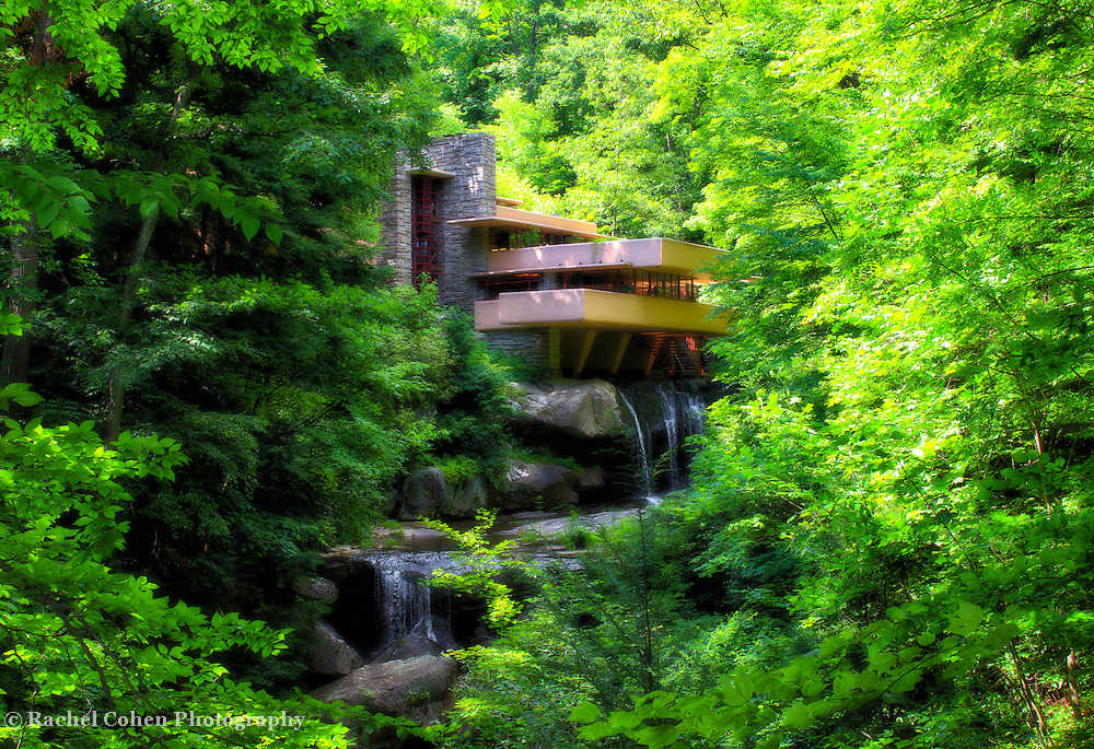 """""""Day Dreaming""""<br /> <br /> This lovely image of the wondrous architecture and landscape of the famous home Fallingwater is enhanced in a delightful way for a magical feel!!<br /> <br /> Laurel Highlands Area of Pennsylvania by Rachel Cohen"""