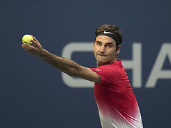 August 31, 2017 - Flushing Meadows, New York, U.S - Roger Federer during his match on Day Four of the 2017 US Open with Mikhail Youzhny at the USTA Billie Jean King National Tennis Center on Thursday August 31, 2017 in the Flushing neighborhood of the Queens borough of New York City. Federer defeats Youzhny, 6-1, 6-7(7-3), 4-6, 6-4, 6-2. First time Federer play consecutive 5 set matches. (Credit Image: © Prensa Internacional via ZUMA Wire)