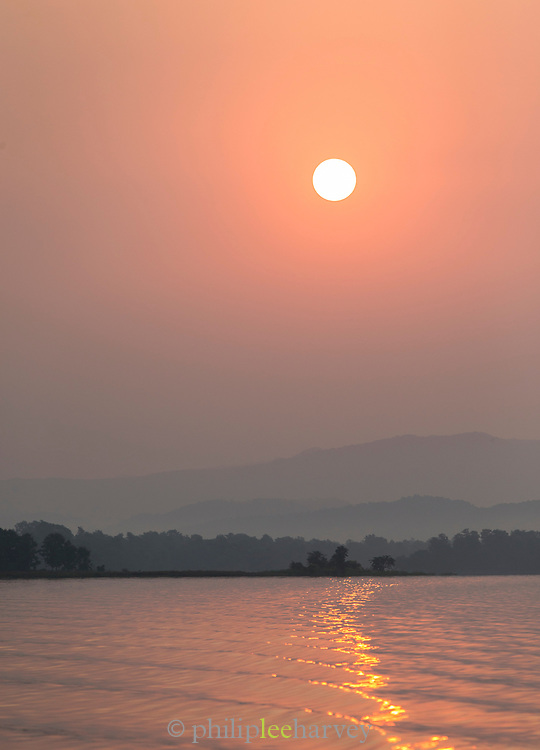 Satpura National Park at sunset, Tawa Reservoir, Madhya Pradesh, India