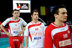 12-02-2012 VOLLEYBAL: BEKERFINALE EUPHONY ASSE LENNIK - NOLIKO MAASEIK: ANTWERPEN<br /> Noliko Maaseik wint vrij eenvoudig de beker van Belgie. In de finale waren zij met 25-21 25-18 en 25-19 te sterk voor Asse Lennik / Michael Olieman<br /> ©2012-FotoHoogendoorn.nl