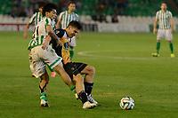 Sevilla, España, 15 de octubre de 2014: Luis Fernandez (D) y Lolo Reyes (I) luchan por el balon durante el partido entre Real Betis y Lugo correspondiente a la jornada 5 de la Copa del Rey 2014-2015 celebrado en el estadio Benito Villamarain de Sevilla.