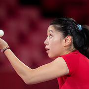 TOKYO, JAPAN - JULY 21: Lily Zhang of the United States practicing at The Tokyo Metropolitan Gymnasium in preparation for the table tennis tournament at the Tokyo 2020 Olympic Games on July 21, 2021 in Tokyo, Japan. (Photo by Tim Clayton/Corbis via Getty Images)