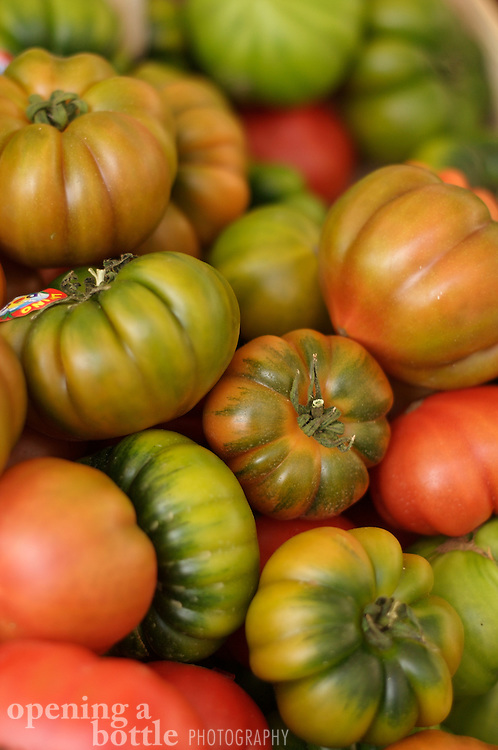 Tomatoes on display, Campo dei Fiori Market, Rome, Italy.