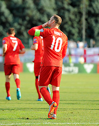 Wayne Rooney of England (Manchester United) blows a kiss to his family after putting England 1 up and equaling England's goals scored record  - Mandatory byline: Joe Meredith/JMP - 07966386802 - 05/09/2015 - FOOTBALL- INTERNATIONAL - San Marino Stadium - Serravalle - San Marino v England - UEFA EURO Qualifers Group Stage