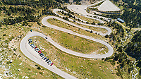 Aerial view of zig-zag road crossing mountain region, Girona, Spain.