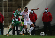 Diego Lopes of Rio Ave in action with Bennacer of Milan during the Europa League match between Rio Ave FC and AC Milan at Estadio dos Arcos, Vila do Conde, Portugal on 1 October 2020.