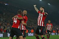 Football - 2018 / 2019 Premier League - Southampton vs. Fulham<br /> <br /> Southampton's Oriol Romeu celebrates scoring the opening goal with Southampton's Nathan Redmond and Southampton's Charlie Austin at St Mary's Stadium Southampton<br /> <br /> COLORSPORT/SHAUN BOGGUST