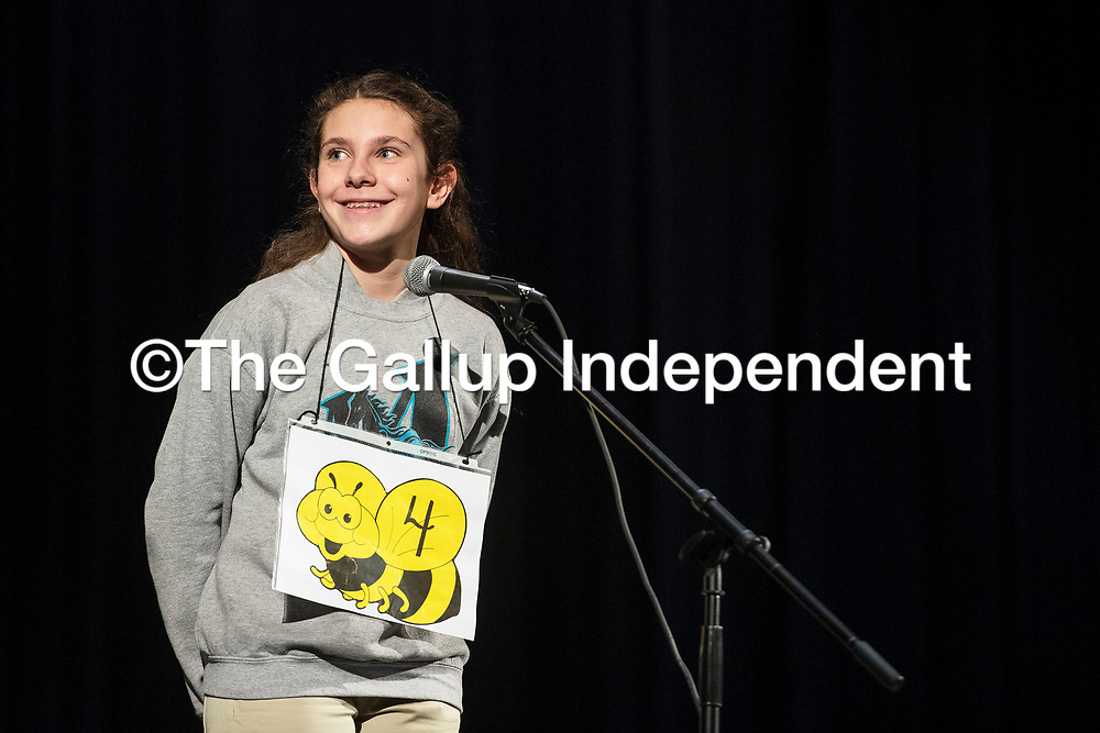 Amalia Wagner, 12, from Gallup Middle School reacts to winning the Gallup-McKinley County Schools annual spelling bee in the ninth round, Wednesday, Jan. 16, at Gallup High School. She will go on to compete in the state spelling bee at Sandia Prep in March.