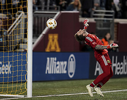 September 22, 2018 - Minneapolis, MN, USA - Portland Timbers goalkeeper Steve Clark nearly let a goal get past him, but the ball bounced off the top crossbar during a Minnesota United scoring attempt in the first half on Saturday, Sept. 22, 2018, at TCF Bank Stadium in Minneapolis. (Credit Image: © Aaron Lavinsky/Minneapolis Star Tribune/TNS via ZUMA Wire)
