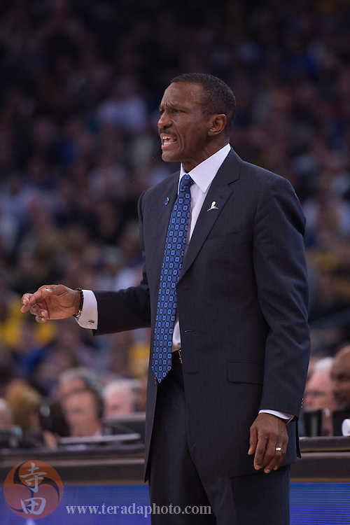November 17, 2015; Oakland, CA, USA; Toronto Raptors head coach Dwane Casey instructs during the second quarter against the Golden State Warriors at Oracle Arena. The Warriors defeated the Raptors 115-110.