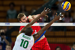 07.09.2014, Centennial Hall, Breslau, POL, FIVB WM, Serbien vs Kamerun, Gruppe A, im Bild Maliki Moussa cameroon #10 Uros Kovacevic serbia #2 // Maliki Moussa cameroon #10 Uros Kovacevic serbia #2 // during the FIVB Volleyball Men's World Championships Pool A Match beween Serbia and Cameroon at the Centennial Hall in Breslau, Poland on 2014/09/07.<br /> <br /> ***NETHERLANDS ONLY***