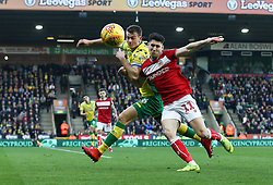 Callum O'Dowda of Bristol City tussles with Christoph Zimmermann of Norwich City - Mandatory by-line: Arron Gent/JMP - 23/02/2019 - FOOTBALL - Carrow Road - Norwich, England - Norwich City v Bristol City - Sky Bet Championship