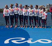 "Rio de Janeiro. BRAZIL.   GBR W8+ Silver Medalist, awards dock. crew, GBR W8+. Bow. Katie GREVES, Katie, WILSON, Melanie, Frances HOUGHTON, Polly SWANN,  Jessica EDDIE,  Olivia CARNEGIE-BROWN,  Karen BENNETT, Zoe LEE, and cox. Zoe DE TOLEDO2016 Olympic Rowing Regatta. Lagoa Stadium,<br /> Copacabana,  ""Olympic Summer Games""<br /> Rodrigo de Freitas Lagoon, Lagoa.   Saturday  13/08/2016 <br /> <br /> [Mandatory Credit; Peter SPURRIER/Intersport Images]"