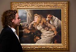 Bonhams 19th Century and British Impressionist Art sale <br /> at Bonhams, London, Great Britain <br /> 20th September 2021 <br /> Press view/photo call <br /> <br /> <br /> <br /> CHARLES BURTON BARBER, ROI<br /> (British, 1845-1894)<br /> Only a Shower<br /> £ 70,000 - 100,000<br />   <br /> <br /> <br /> Sale is on 22nd September 2021 <br /> <br /> <br /> <br /> Photograph by Elliott Franks