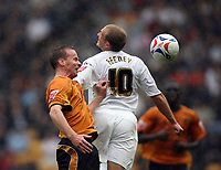 Photo: Rich Eaton.<br /> <br /> Wolverhampton Wanderers v Luton Town. Coca Cola Championship. 26/08/2006. Jody Craddock left of Wolves and Warren Feeney go for the ball