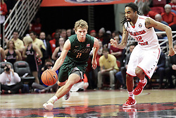 05 December 2015: Nick Norton pushes past half court pursued by Tony Wills(12). Illinois State Redbirds host the University of Alabama - Birmingham Blazers at Redbird Arena in Normal Illinois (Photo by Alan Look)