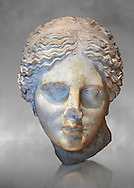 """Roman marble head of Aphrodite (Venus)  known as the """"Kaufmann head"""" once conserved in Berlin. Circa 150 BC found in Asia Minor.  Inv MND 2027 ( or Ma 3518) Louvre Museum, Paris. .<br /> <br /> If you prefer to buy from our ALAMY STOCK LIBRARY page at https://www.alamy.com/portfolio/paul-williams-funkystock/greco-roman-sculptures.html- Type -    Louvre    - into LOWER SEARCH WITHIN GALLERY box - Refine search by adding a subject, place, background colour,etc.<br /> <br /> Visit our CLASSICAL WORLD HISTORIC SITES PHOTO COLLECTIONS for more photos to download or buy as wall art prints https://funkystock.photoshelter.com/gallery-collection/The-Romans-Art-Artefacts-Antiquities-Historic-Sites-Pictures-Images/C0000r2uLJJo9_s0c"""
