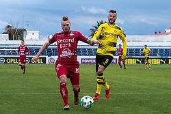 (L-R) Brian Hamalainen of SV Zulte Waregem, Andrej Yarmolenko of Borussia Dortmund during the friendly match between Borussia Dortmund and Zulte Waregem at the Estadio Municipal Marbella on January 08, 2018 in  Marbella, Spain