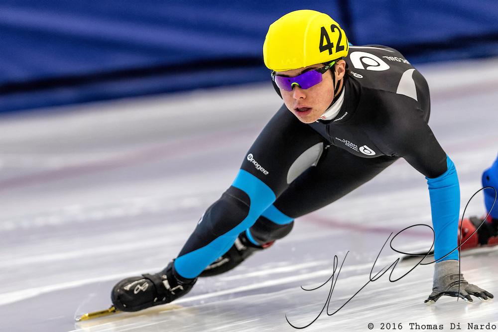 December 17, 2016 - Kearns, UT - William Valentine skates during US Speedskating Short Track Junior Nationals and Winter Challenge Short Track Speed Skating competition at the Utah Olympic Oval.
