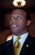 Rep. J.C. Watts, following his election as Republican caucus chairman November 18, 1998 in Washington, DC. Watts defeated Rep. John Boehner becoming the first black to hold the position.